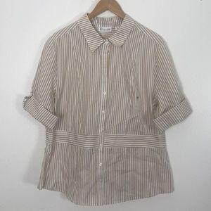New York&Company White/Tan striped blouse sz XXL